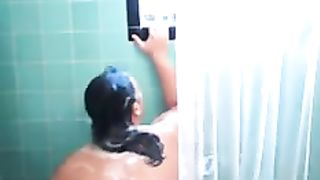 Chunky breasty milf amateur wife is all soapy in the shower room