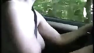 My naughty hotwife with valuable round marangos is driving her car totally nude