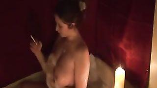 Hot milf white black cock sluts enjoying bathtub and smokin' on webcam